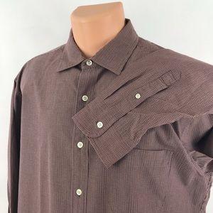 J. Crew Micro Check Button Front Cotton L/Sleeve L